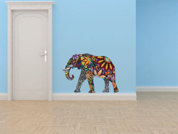 Large mosaic flowered colorful elephant zoo circus animal home decor Colorful elephant home decor