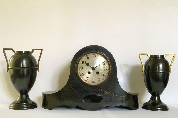 Brass Arts and Crafts clock set circa 1915.