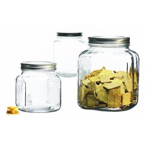 Glass Canister Set Sugar Tea Coffee Kitchen 3 Piece Food Containers Storage Box #Unbranded
