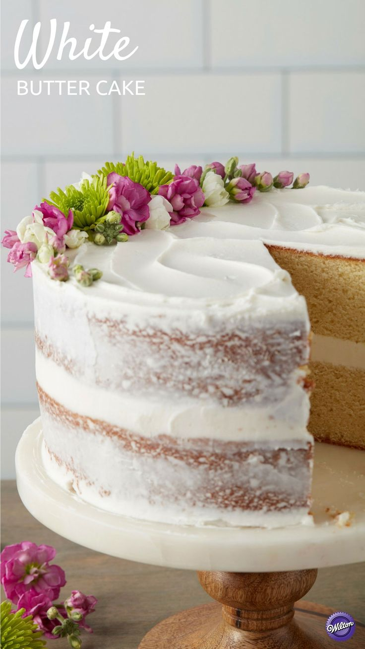 osting a wedding shower or birthday celebration? This Classy White Butter Cake is an easy and stress-free dessert that is the perfect ending to any party. Topped with beautiful edible flowers, this simple cake features an elegant rustic design and is a simple project for beginning decorators. The tasty Butter Cake recipe also holds up well to icing and decorating.