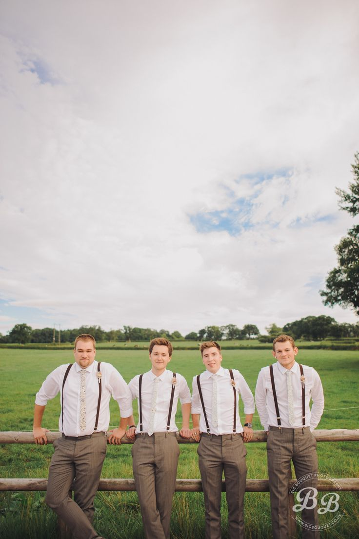 A good one for rustic weddings. Simple breaches and rolled-up shirts for the groomsmen.