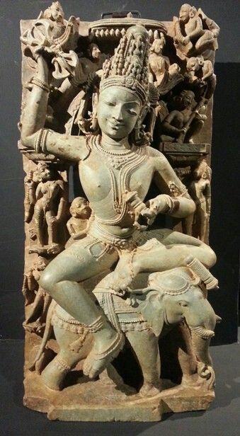 Indra on Airavata elephant, holding vajra.Sculpture from Orissa.
