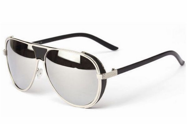Punk Vintage Ironman Aviators Sunglasses For Men / Women Metal Silver Frame Mirror Silver Lens