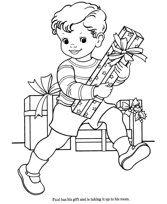 A Little Boy Very Happy With The Christmas Gifts Coloring Page