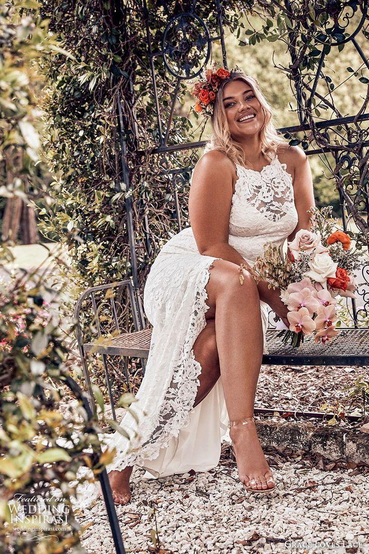 7aafcef75a9 grace loves lace 2019 bridal sleeveless illusion halter neck sweetheart  fully embellished lace sheath wedding dress slit skirt romantic boho chic  plus size ...