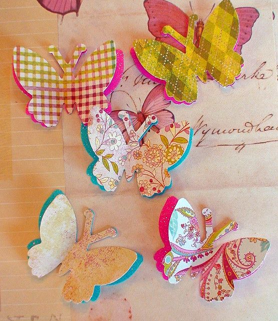 Butterflies punched out of fun and beautiful, patterned paper.