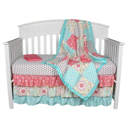 Gia Floral Coral/Aqua 4-In-1 Baby Girl Crib Bedding Set by The Peanut Shell - Walmart.com
