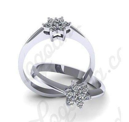 Inel de logodna din aur alb, cu diamante.