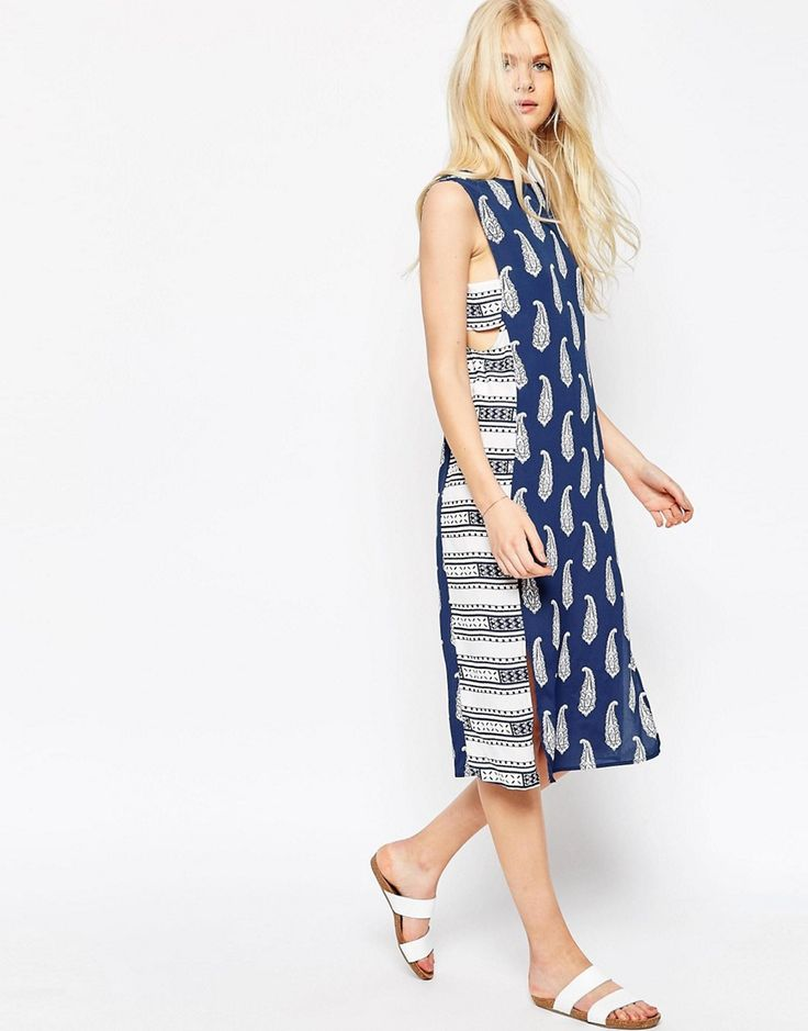 Image 1 ofASOS Midi Dress in Mixed Print with Tab Side Detail