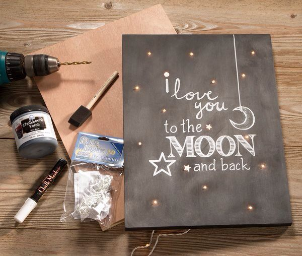 "Such a sweet way to display love ❤️ ""I love you to the MOON and back"" light sign DIY lights chalk paint canvas room decor sign"
