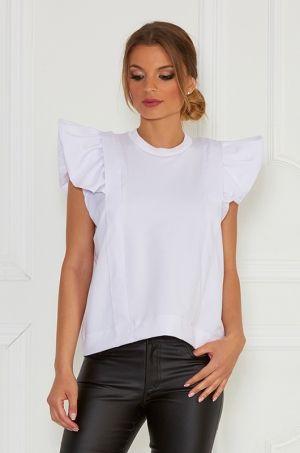 Štýlové tričko s krátkym rukávom zdobený s volánom , vhodné na pracovné či každodenné nosenie.