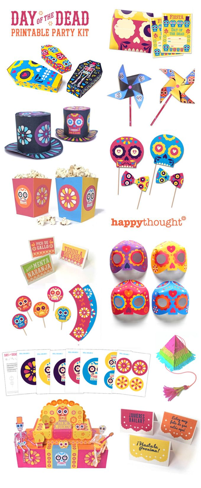 El dia de los Muertos printable party kit plus over 24 ideas for the upcoming Day of the Dead.
