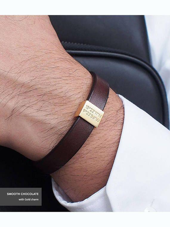 Father S Day Gift Personalized Leather Bracelet Coordinates Mens Groomsman Lb01 San Valentin Pinterest Bracelets
