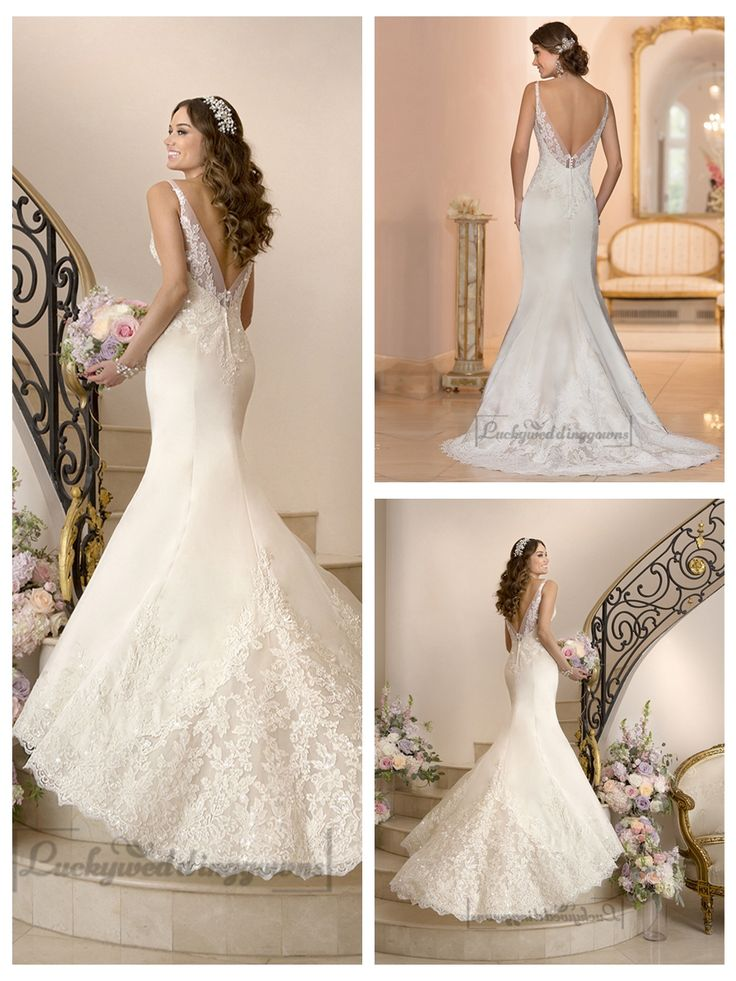 Elegant Fit and Flare Illusion Straps Wedding Dresses with Deep V-back http://www.ckdress.com/elegant-fit-and-flare-illusion-straps-wedding-  dresses-with-deep-vback-p-2014.html  #wedding #dresses #dress #lightindream #lightindreaming #wed #clothing   #gown #weddingdresses #dressesonline #dressonline #bride