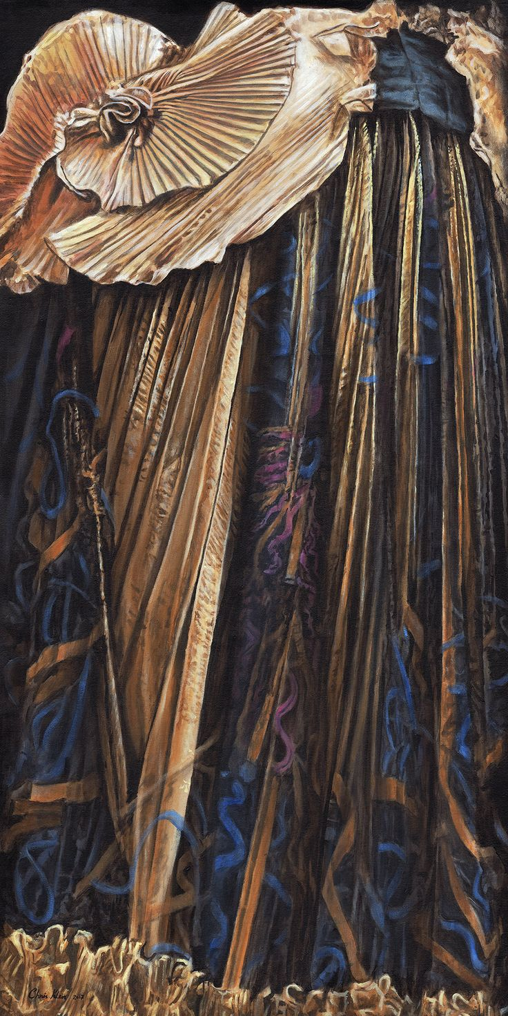 """Zandra Rhodes - Renaissance Cloth of Gold"" Acrylic on canvas, 24""x48"""