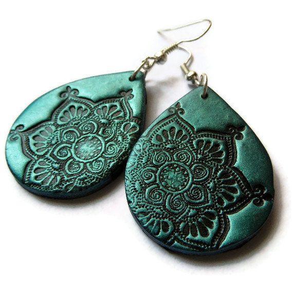 Lotus mandala earrings teal black polymer clay