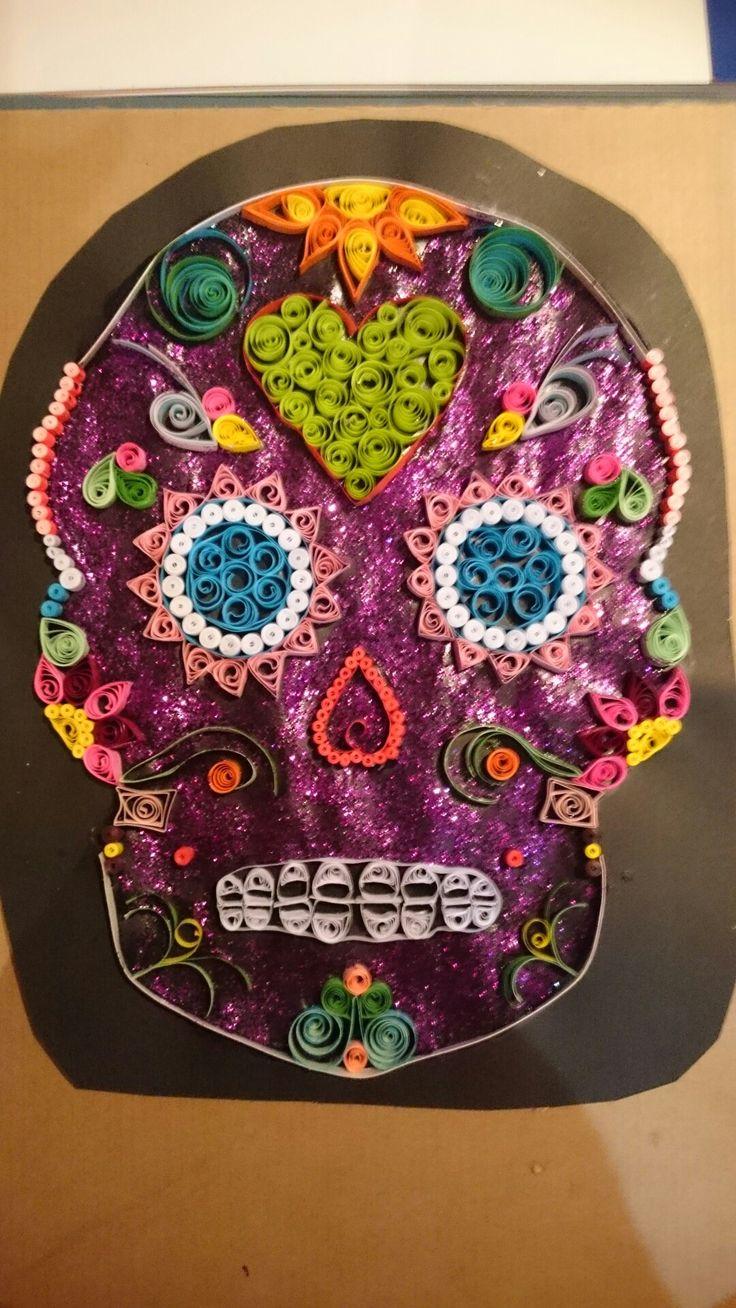 Sugar Skull Quilling, paper art, quill, skull