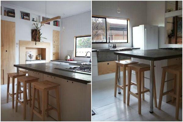 Plywood customized Ikea kitchen.