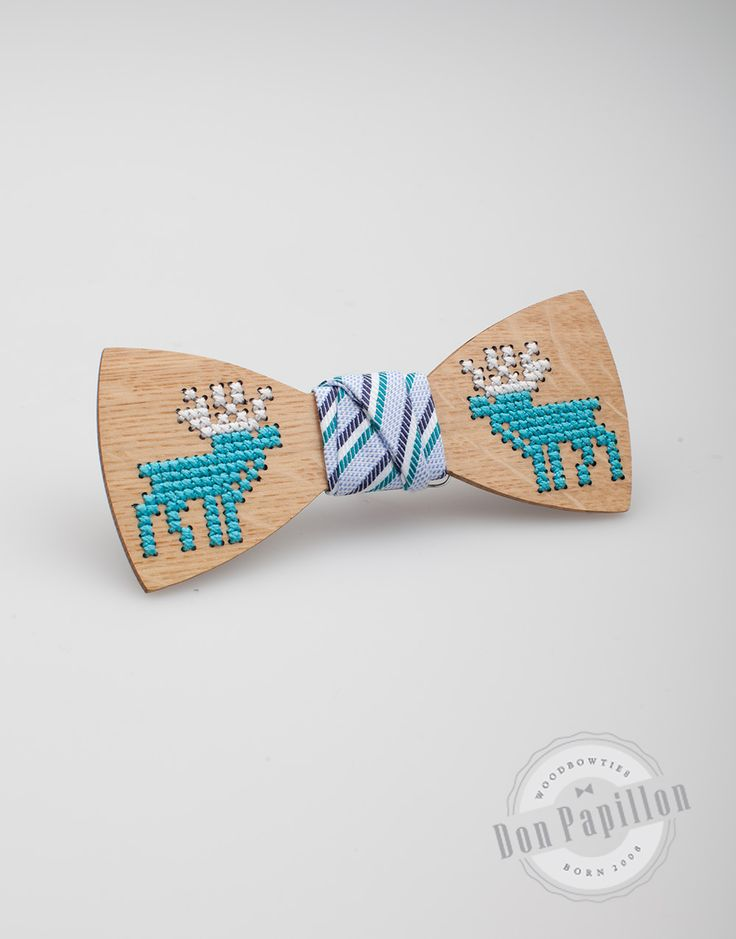 Don Papillon Christmas Collection of sewed wooden bow ties, made with reindeer pattern.