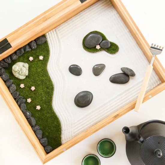 Mini Zen Garden. Find A Quiet Space, Brew Up Some Tea, And Rake