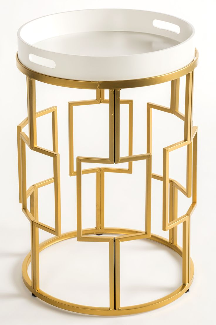 Gold Design | Gold Side Table With Removable White Tray #bestbathrooms  #bathroomdesign Side Table