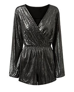 Girls On Film Silver Metallic Long Sleeve Wrap Playsuit  | New Look
