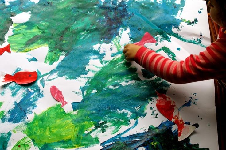 Papirne ribice i more igre i igra ke pinterest for Paintings of toddlers
