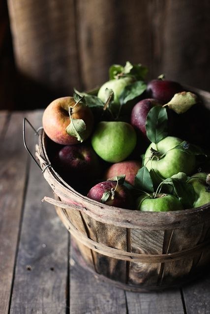 Basket ull of red and green apples