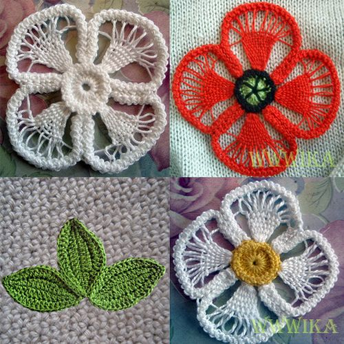 Romanian point lace #crochet flowers with woven petals.
