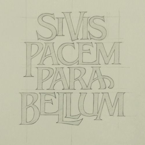A bit of lettering for my Kaneohe family; Si vis pacem, para bellum. #sketch #lettering #kaneoheteam