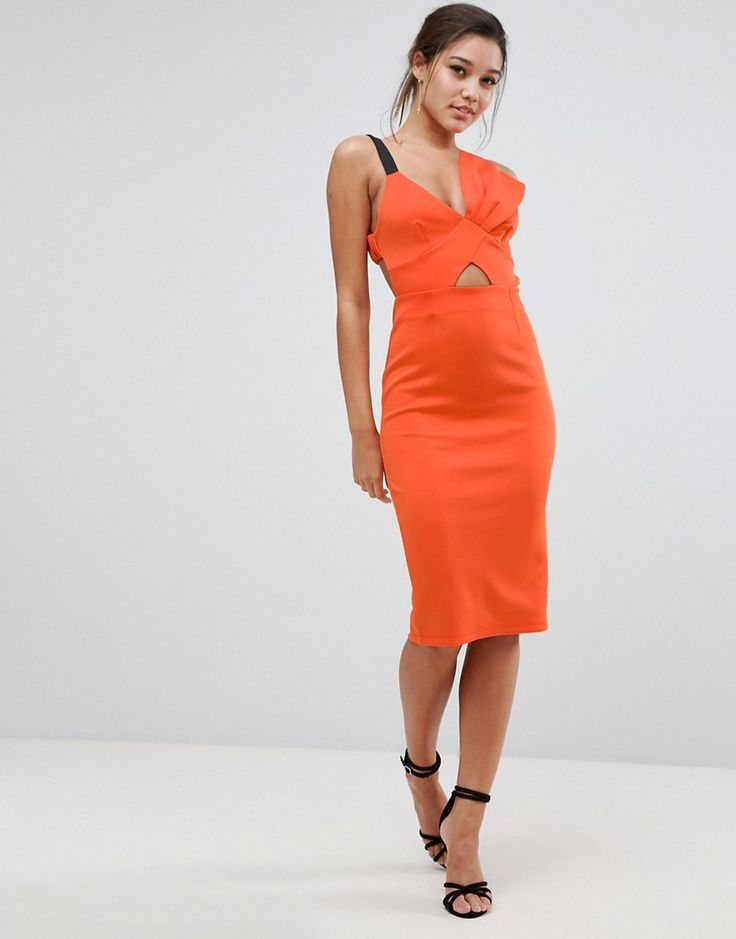 ASOS Bow Bust Strappy Midi Bodycon Dress - Orange