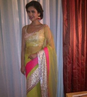 Buy Esha Gupta Neon Green Net Saree Online