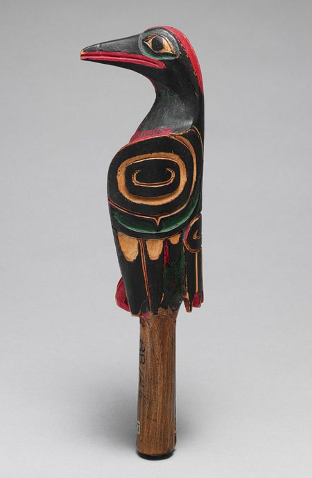 Rattle, 19th century Vancouver Island, Canada; Masseth or Haida Wood, pigment