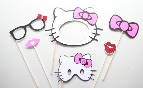 6pc * Photo Booth Props/Photobooth apoyos inspirado en Hello Kitty