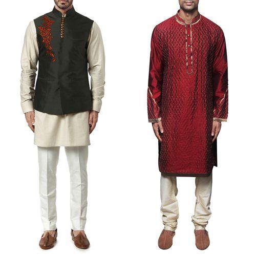 Outfit option for male guest attending the baarat ceremony. Forest Green Nehruvian Jacket and Maroon Dupion Silk Kurta by WYCI. #indianattire #indianweddingoutfit #baarat #kurta