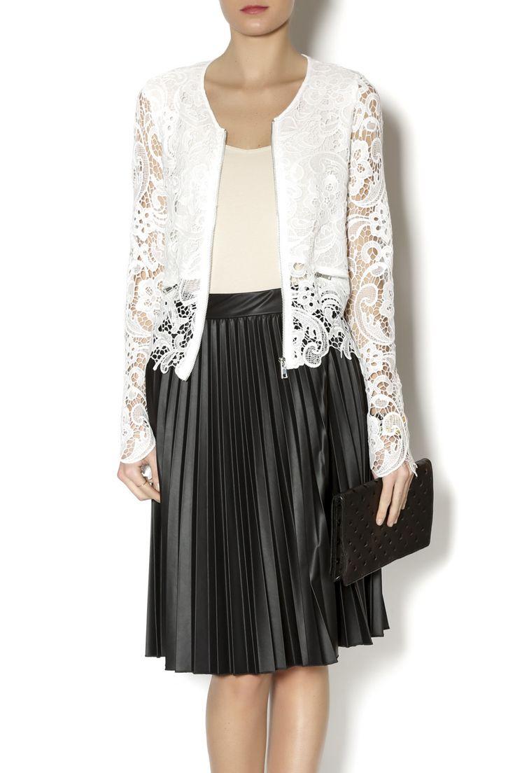 Long sleeve white crochet zip up jacket with zip pocket detailing. White Crochet Jacket by Double Zero. Clothing - Jackets, Coats & Blazers Naples, Florida
