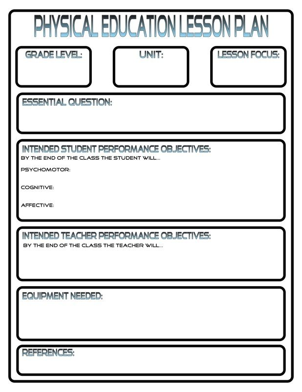 Phys Ed Lesson Plan Template Template Lesson Plan Templates