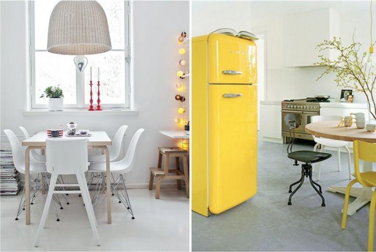 В скандинавском стиле дизайн пола на кухне должен быть также не замысловатым, лучший цвет – белый, но можно выбрать более яркие или контрастные цвета. Или оставить пол в виде черновой стяжки.