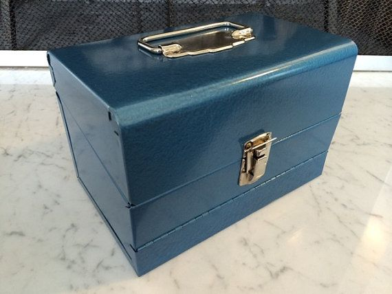 69,30€ - Film bobine 8mm contenant milieu du siècle moderne bleu métal film bobine poitrine - boîte de rangement