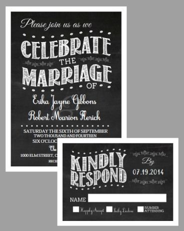 40 best Free Wedding Printables images on Pinterest Invitation - chalk board invitation template
