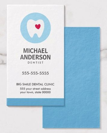 Dentist or dental clinic / assistant modern business card Vertical dentist or dental assistant business card template featuring a tooth logo with a white tooth and red heart on a blue circle. This image can be exchanged for your own logo. Blue back. Great business card for anyone working with teeth. Dentist business cards, dental business cards