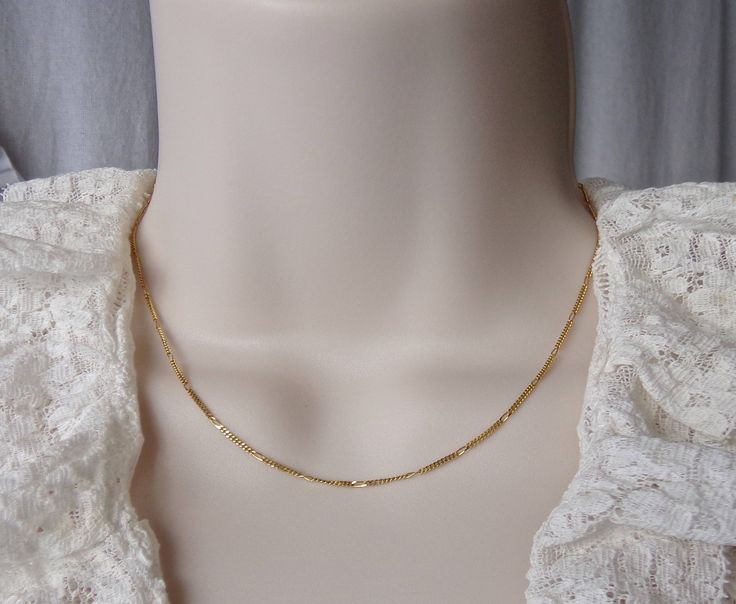 Vintage 14K Gold Flat 1.25 mm by Vier 15 Inch Italian Gold Chain Necklace 1980s by CynthiasAttic on Etsy