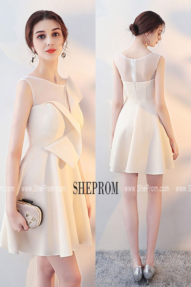 c4121ece87a Champagne Aline Short Homecoming Dress Sheer Neck with Wrap -  64.38   HTX86014 - SheProm.com in 2019