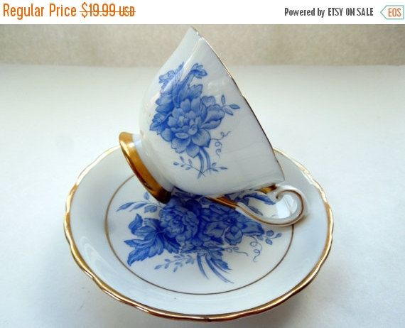 English Tea Cup Saucer Set Blue Flowers Wedding by Passion4Europe