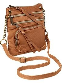 Three-Zip Canvas Cross-Body Bag...I love the over the shoulder kind of bags!