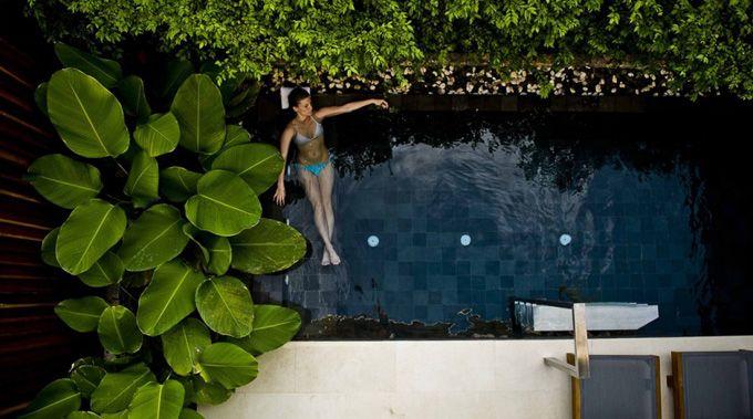 Garden pool outside pinterest for Small backyard oasis