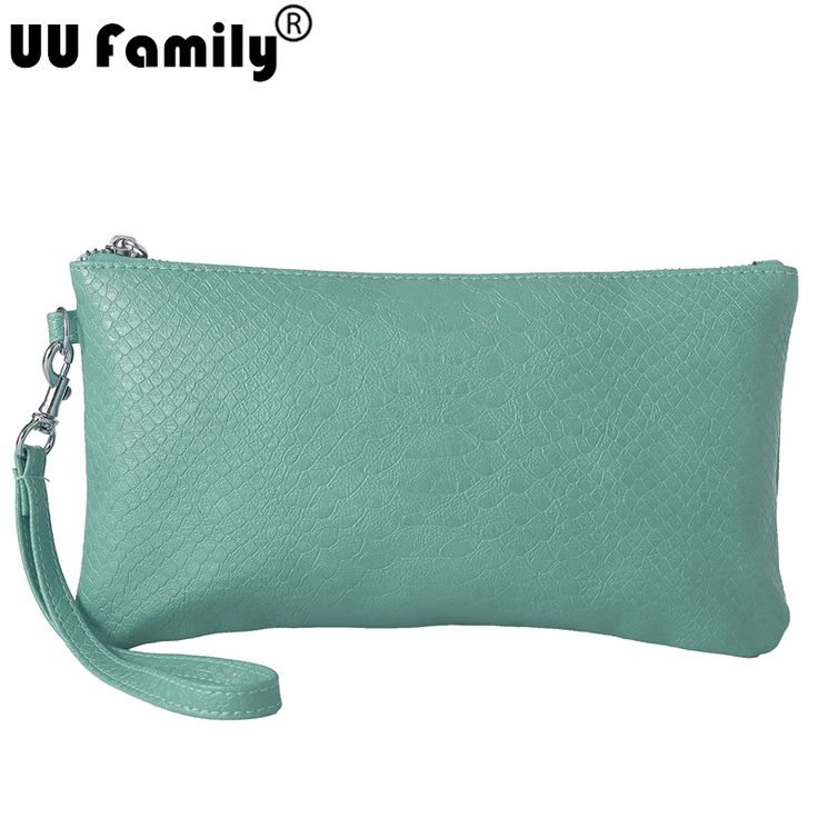 UU Family Snake Cosmetic Bag Wristlet Women Clutch Cartera con cadena Lady Purse