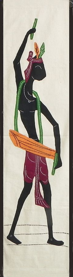 Tribal Drummer - (Wall Hanging) (Applique Work on  Cotton Cloth)