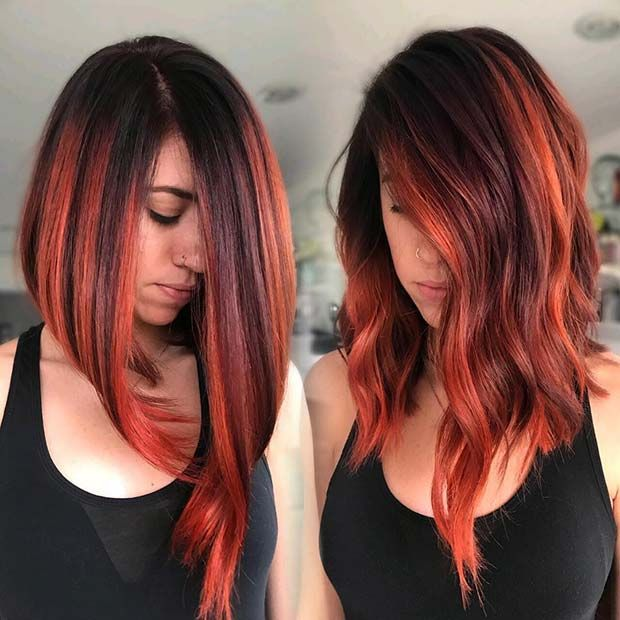 23 Red And Black Hair Color Ideas For Bold Women Page 2 Of 2 Stayglam Hair Color For Black Hair Long Bob Hairstyles Red Bob Hair