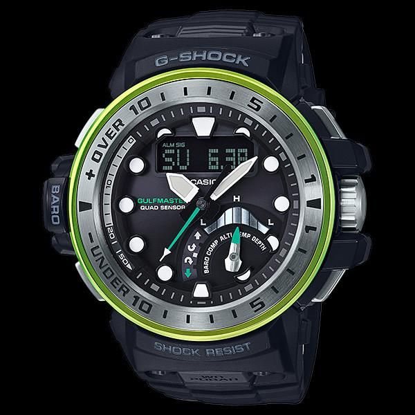 The Master In Marine Blue Quad-Sensor Gulfmaster watch is a new edition to the G-Shock Master of G range. Depth meter, altimeter, compass, thermometer/barometer.